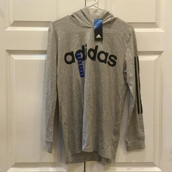 Boys Adidas Long Sleeve w Hood Grey L NWT
